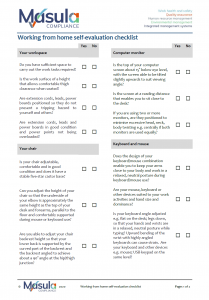 Working from home self-evaluation checklist