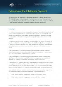 JobKeeper Payment Extension Fact Sheet